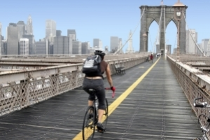 Bicycling across the Brooklyn Bridge